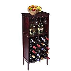 Wood Wine Cabinet Bottle Holder Storage w/ Glass Rack Kitchen Home Bar