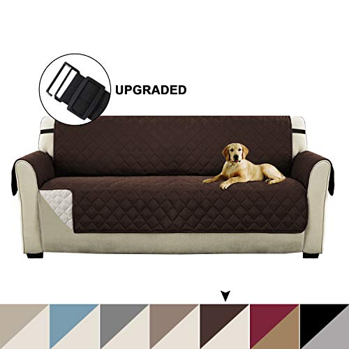 "Turquoize Pet Friendly Plush Reversible Furniture Sofa Protector with 2"" Elastic Straps Sofa Covers for Living Room, Couch Covers for 3 Cushion Couch for Dogs Cover (Sofa: Brown/Beige)- 75"" x 110"""