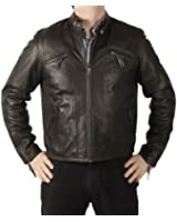 Simons Leather Men's Panelled Leather Biker Jacket