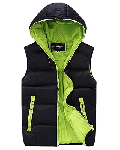 Down Jacket Schwarz Outwear Grün Coat Zipper BoBoLily Sleeveless with Coat Zipper Men's Vest Hooded Vest qxORHzt