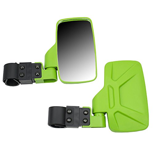 """Green Breakaway Adjustable Offroad Rear Side View Mirrors for Side x Side UTV Utility Vehicle w/1.75"""" Roll Bar Cage"""