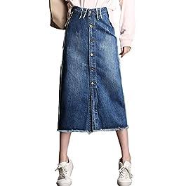 chouyatou Women's Retro High Waist Front Button A-Line Midi Ripped Denim Skirt