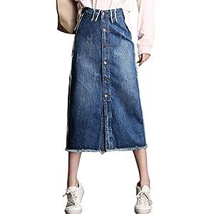 Women's High Waist Front Button A-Line Midi Ripped Denim Skirt