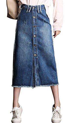 chouyatou Women's Retro High Waist Front Button A-Line Midi Ripped Denim Skirt (Medium, ()