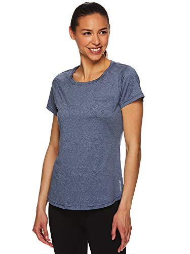 HEAD Women's Short Sleeve Workout Scoop Neck T-Shirt - Performance Tennis Crew Neck Activewear Top - Lead SS Medieval Blue, ()