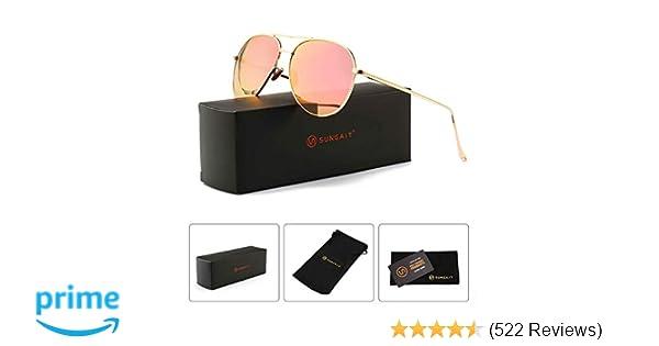 42135a623e3 Amazon.com  SUNGAIT Women s Lightweight Oversized Aviator sunglasses -  Mirrored Polarized Lens (Light-Gold Frame Pink Mirror Lens