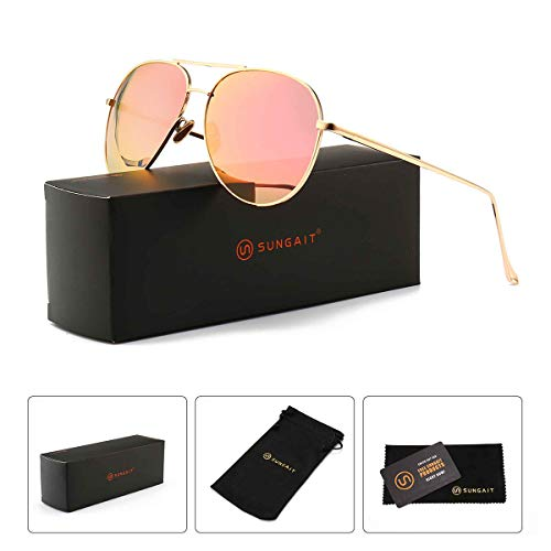 (SUNGAIT Women's Lightweight Oversized Aviator sunglasses - Mirrored Polarized Lens (Light-Gold Frame/Pink Mirror Lens,)