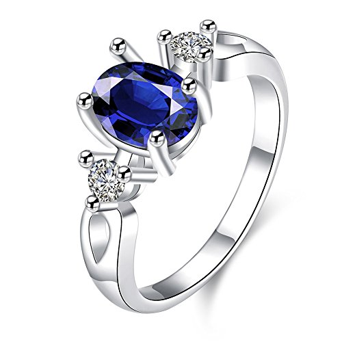 Silver Gold Crystal Trinket Plated (Garilina trinket Blue Austrian crystal Silver jewelry Party Gift Women's rings R2212 (8))