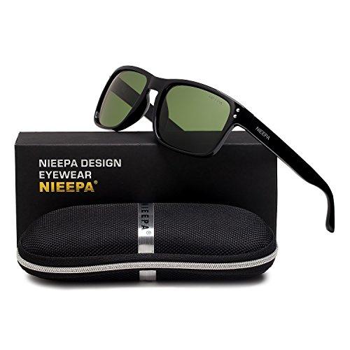 Square Polarized Wayfarer Sunglasses Retro Classic Stylish Brand Design Sports Sun Glasses for Men Women Vintage Driving Fishing 100% UV Protection Glasses (G15 Lens/Bright Black - Bright Green Sunglasses