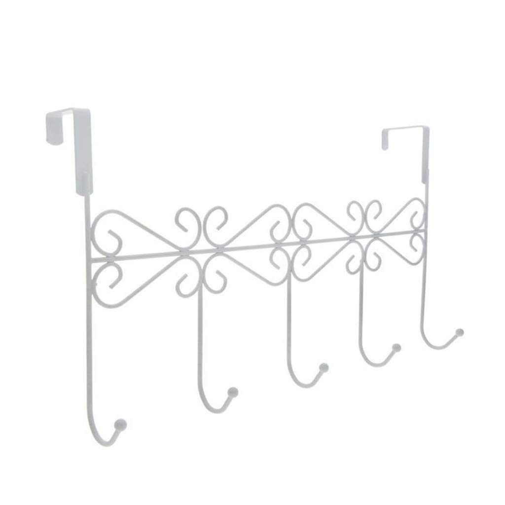 Saying Over Door Storage Rack, Bath Towel Hooks Over Z Shaped Hooks, Hook Rack Clothes Coat Belt Hanger to Save Space (White)