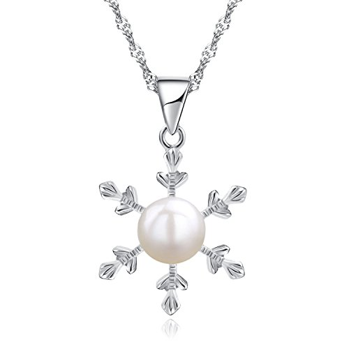 women necklace pendant_ necklace snowflake necklace, freshwater pearl necklace _925 sterling silver necklace