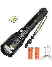 LED-zaklamp USB oplaadbaar, 100000 lumen helderste krachtige zaklamp, upgrade P70.2 tactische waterdichte zoombare zaklamp met 26650 batterijen, zaklamp met 5 standen voor noodkamperen