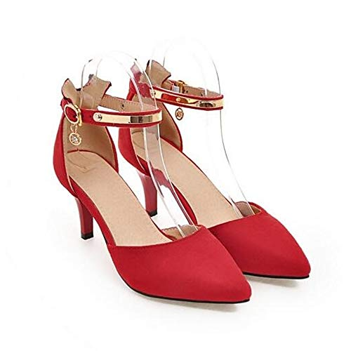 Stiletto Basic Pump Black ZHZNVX Shoes Summer Pink Women's Heels Suede Black Heel Red wx4p6q