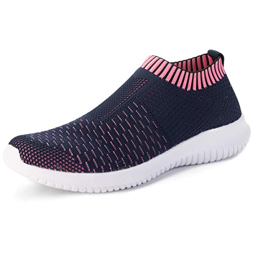 Scurtain Women Comfortable Anti-skidding Shoes Hiking Sneakers Shoes Blue Pink 7.5 M US -