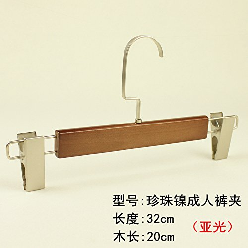 Adjustable Nickel Matt (Kexinfan Hanger Solid Wood Pants Clip Matt Hook Pants Rack Hanging Clip Clothing Store Home Hotel Pants Clip Hanger, 10, Pearl Nickel 802 Adult Pants Clip)
