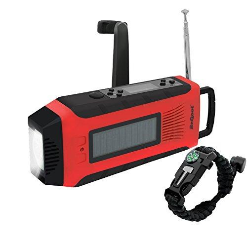 BEQOOL 6-in-1 Notfall Handkurbel Dynamo Selbstversorgung | Solar Radio AM/FM/NOAA Wetterservice | 1W LED Lampe | eingebaute 2000 mAh Powerbank | USB-Port | Mikro-Kabel