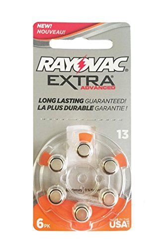 60 Rayovac Extra Mercury Free Hearing Aid Batteries Size: 13 + Battery Holder Keychain Kit ()