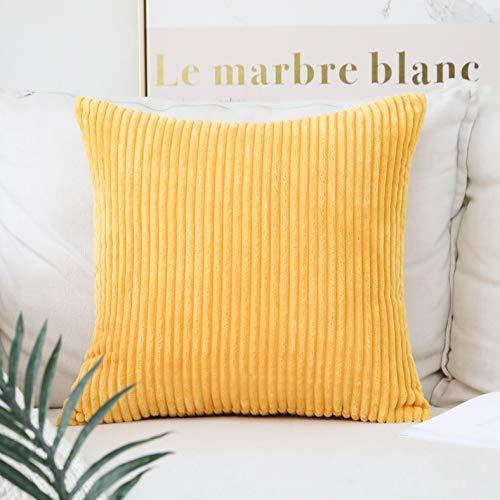 HOME BRILLIANT Striped Corduroy Plush Texture Velvet Euro Throw Pillow Sham Cushion Cover for Chair, 24 x 24 inch (60cm), Sunflower Yellow