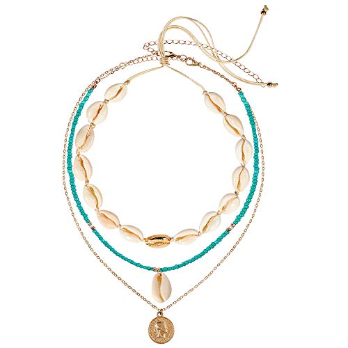 Bascolor Shell Choker Necklace for Women Layered Boho Multilayer Adjustable Turquoise Beads and Shell Pendant Necklace Choker Handmade Hawaii Wakiki Cowrie Beach Necklace Set Jewelry for Women (3pcs) ()