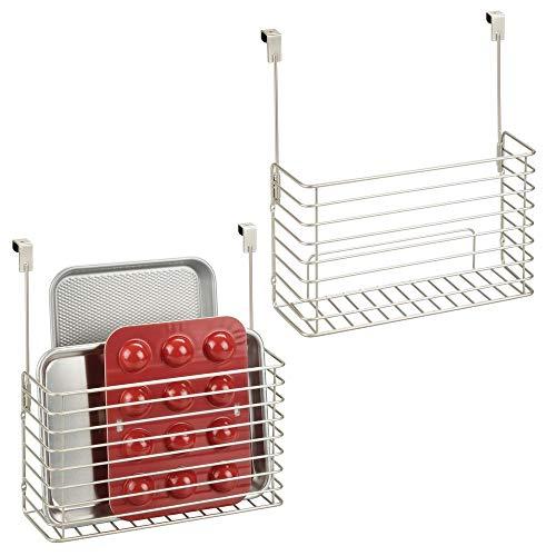 mDesign Metal Over Cabinet Kitchen Storage Organizer Holder or Basket - Hang Over Cabinet Doors in Kitchen/Pantry - Holds Bakeware, Cookbook, Cleaning Supplies - 2 Pack - Satin