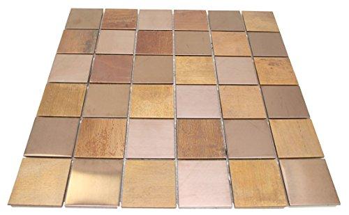 - Matte Wood Look Bronze Metallic Square Glass Mosaic Tiles for Bathroom and Kitchen Walls Kitchen Backsplashes