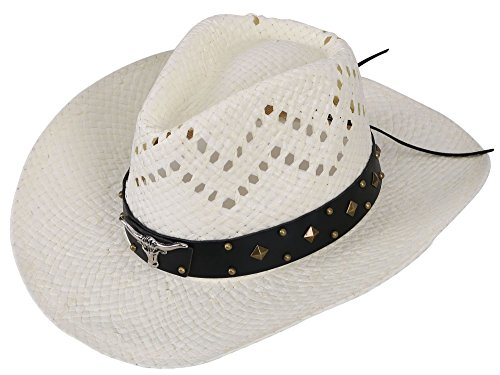 Simplicity Summer Vented Western Straw Cowboy Cowgirl Hats Ivory_Bull