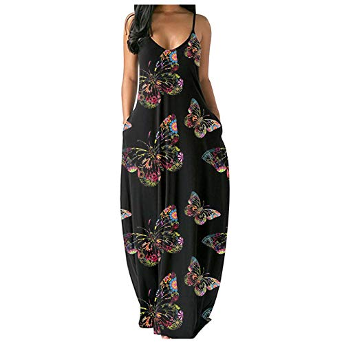 Fashionable Women's Casual Plus Size Dress, Sexy deep V-Neck Pocket Print Short-Sleeved Long Skirt Dress(A-5,XL)