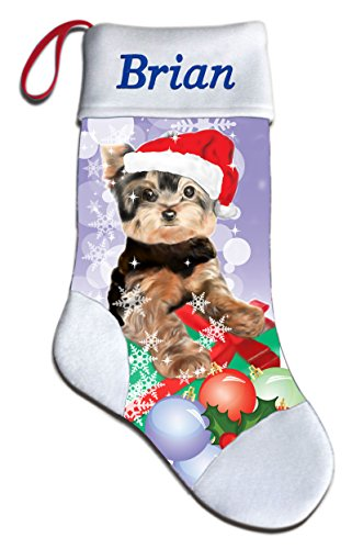 NEW Personalized Yorkie Yorkshire Terrier Dog Lover Christmas Stocking Embroidered (Yorkshire Terrier Stocking)