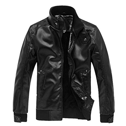 Baarly Leather Jacket Mens Stand Collar PU Coats Black M -