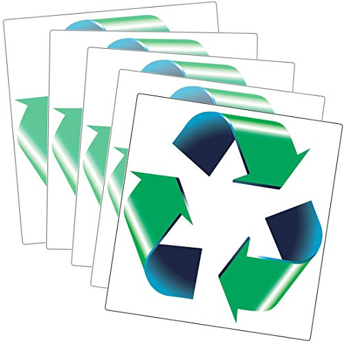 (Retail Genius Oversized 8in Recycle Symbol Sticker 5 Pack for Green, White & Blue Recycling Bins & Cans. Large Decals ID Recycled Plastic, Paper, Cardboard, Glass, & Aluminum Recyclable Containers.)