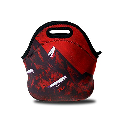 VOROY Insulated Neoprene Lunch Bag Gourmet Lunch Tote The Cloud Tree Reusable Lunch Tote Bags for Men Women Kids Best Travel Bag (red)