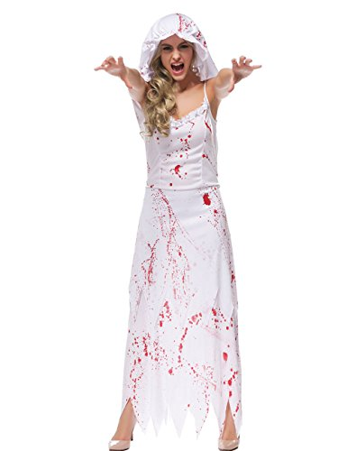Hamour Womens' Ghost Bride Zombie Wedding Fancy Dress Costume,White, (Zombie Costume For Female)