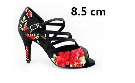 YFF Sommer stilvolle Blume Frauen Latin Ballroom Dance Schuhe Damen Sandalen Salsa tanzen Schuh Heel 6/7,5/8,5 cm Dancing Show,85 mm Absatz,5.