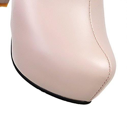 Allhqfashion Donna Materiale Morbido Cerniera Tacco Tacco Alto Stivali Bassi A Punta Alta Con Metallo Rosa