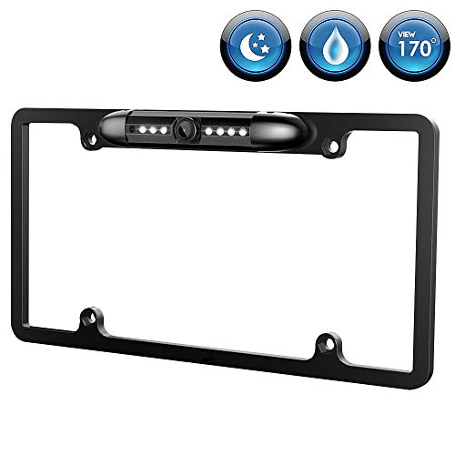 - License Plate Frame Backup Camera Night Vision Car Rear View Camera 170° Viewing Angle Waterproof High Sensitive Universal 7 Bright LED Reversing Car Camera Upgrade Version