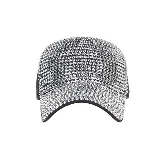(Ponycap Messy High Bun Ponytail Adjustable Mesh Trucker Baseball Cap Hat for Women-Cotton Cap Star Rhinestone Cap Silver)