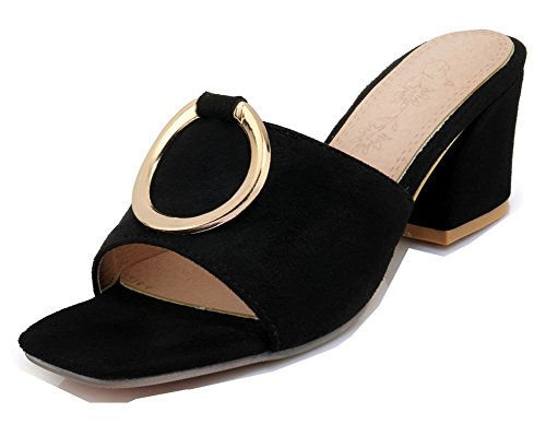 Arrondie Mode Ouvert Bout Tire Femme Aisun Noir Mules 5 5cm qAnt6n
