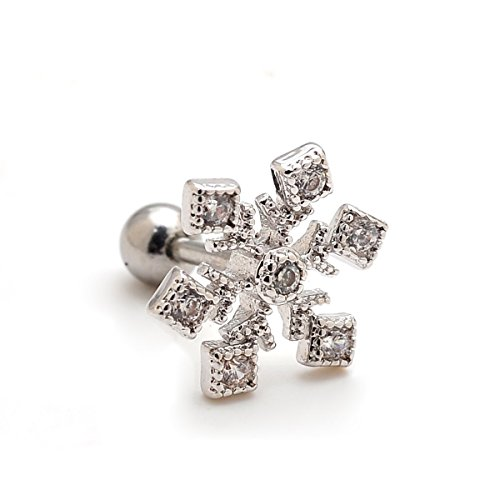 16g Surgical Steel Large Snowflake Earrings Cartilage Barbell Studs Helix Piecing 2 Pieces(Silver)