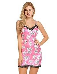 Ekouaer Women's Mini Chemise Nightgown Sexy Sleepwear Slip Dress