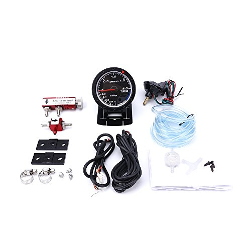 CNSPEED 60MM Car Turbo Boost gauge + Adjustable Turbo Boost Controller Kit 1-30 PSI IN-CABIN Car Gauge/Car Meter (with red Controller):