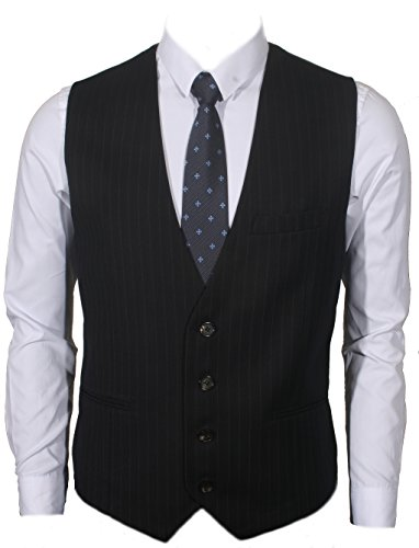 Ruth&Boaz Men's 3Pockets 4Button Business Suit Vest (XS, NAVY PIN STRIPE)