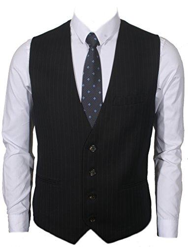 (Ruth&Boaz Men's 3Pockets 4Button Business Suit Vest (XXL, Navy PIN)