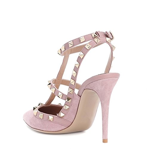 Chris-T Pointed Toe Studded Strappy Slingback High Heel Leather Pumps Stilettos Sandals Pink Suede SruGSd