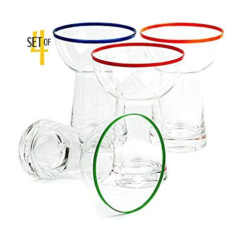 Large 14.5 oz Stemless Margarita Glasses + Colored Party Rims | Set of 4 | Heavy Duty, Thick, Hand Blown Glassware for…