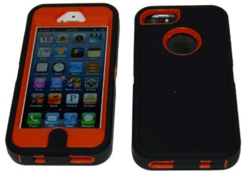 Brand New Iphone 5 5S Body Armor Defender - Comparable to Otterbox Defender + 1pc 3ft Data Cable (Black on Orange)