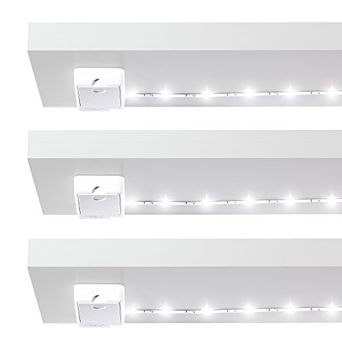 Luminoodle Click AA Battery Powered LED Tap Light - 3-Pack - for Closet, Pantry, Shelf Light - 36 in. Stick Anywhere Adhesive Light in Daylight White (5000K)