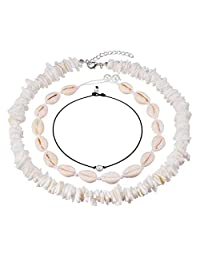 Cowrie Shell Choker Necklace for Women Adjustable Puka Chips Shell Surfer Choker Necklace Jewelry Set Pearl Cord Necklace