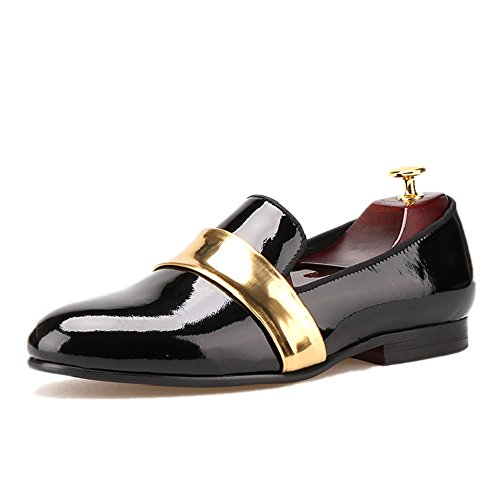 HI&HANN Men's Leather Loafers With Gold Patent Leather Buckle Shoes Slip-On Loafer Round Toes Smoking Slipper-11.5-Black Leather Patent Leather Slippers
