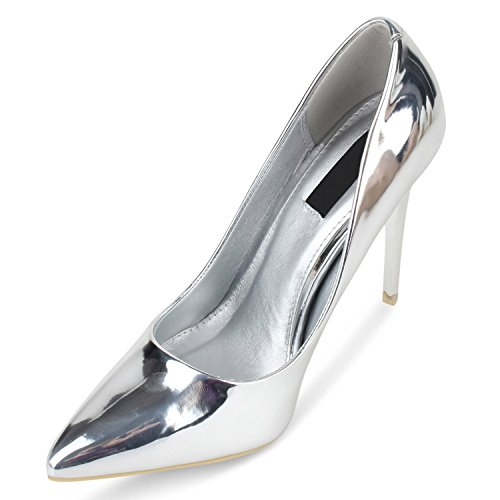 Stiefelparadies Spitze Damen Pumps Lack Stiletto High Heels Metallic Party Schuhe Glitzer Abendschuhe Hochzeit Hochzeitsschuhe Flandell Silber