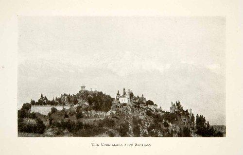 1913 Print Cordillera Santiago Chile Andes Mountains South America Village Hill - Original Halftone - South Village Hills
